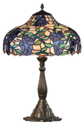 Casa Padrino Tiffany Table Lamp Grapes Multicolor Ø 39 x H. 59.5 cm - Handmade Luxury Table Light made of Numerous Glass Mosaic Pieces