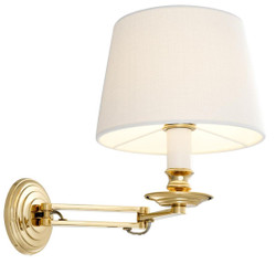 Casa Padrino luxury wall lamp with swivel arm gold / white 22 x 21.5 x H. 27.5 cm - Hotel & Restaurant Light
