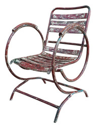 Casa Padrino Art Nouveau garden chair with armrests antique red 60 x 45 x H. 85 cm - Handmade Garden Furniture