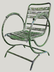 Casa Padrino Art Nouveau garden chair with armrests antique green 60 x 45 x H. 85 cm - Handmade Garden Furniture