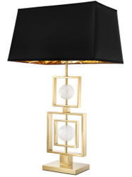 Casa Padrino table lamp with rock crystal gold / black 49.5 x H. 83 cm - Luxury Furniture