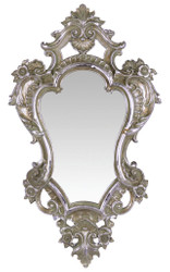 Casa Padrino Barock Spiegel Silber 28,2 x H. 48,4 cm - Barockstil Wandspiegel