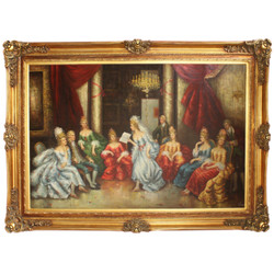 Huge Hand Painted Baroque Oil Painting Literary Evening Gold Pompous Frame 225 x 165 x 10 cm - Massive Material