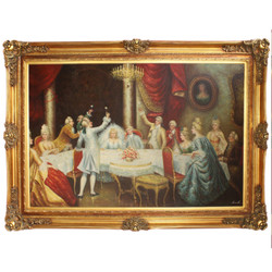 Huge hand painted Baroque oil painting wedding gold pageantry frame 225 x 165 x 10 cm - Massive material