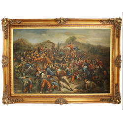 Huge Handpainted Baroque Oil Painting War Gold Mint Frame 225 x 165 x 10 cm - Massive Material