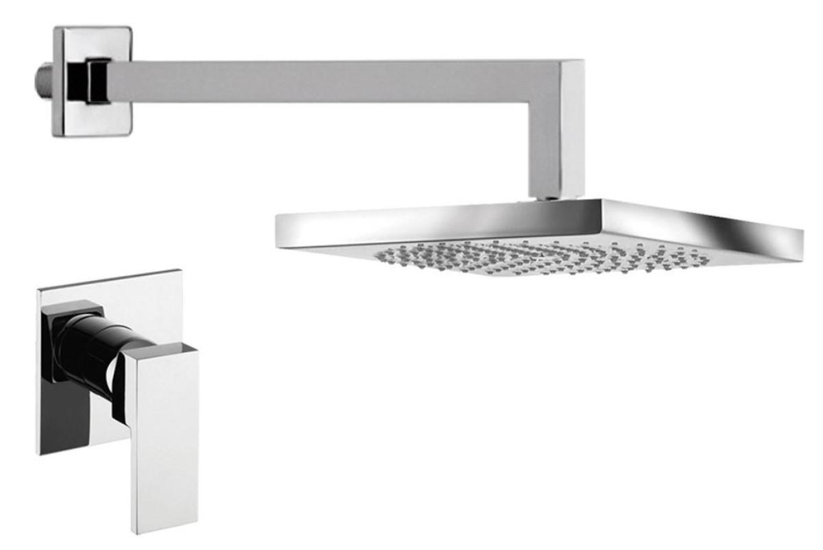 luxus duschgarnitur unterputz duscheneinhebelmischer mit kopfbrause silber luxus badezimmer. Black Bedroom Furniture Sets. Home Design Ideas
