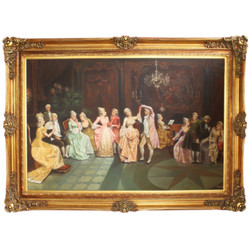 Huge Hand Painted Baroque Oil Painting Concert in the Ballroom Gold Pride Frame 225 x 165 x 10 cm - Massive Material