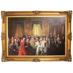 Huge Hand Painted Baroque Oil Painting Casino Gold Pride Frame 225 x 165 x 10 cm - Massive Material