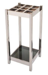 Casa Padrino luxury umbrella stand silver / black 30 x 30 x H. 70 cm - Stainless Steel Umbrella Stand with Tinted Glass