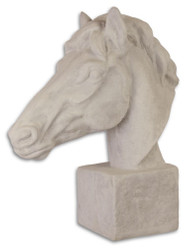 Casa Padrino Garden Terrace Decoration Horsehead Sculpture White Gray 21.8 x 58 x H. 64.4 cm - Hotel & Restaurant Decoration