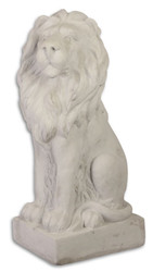 Casa Padrino Garden Terrace Decoration Sculpture Sitting Lion White Gray 26.5 x 37 x H. 75 cm - Hotel & Restaurant Decoration