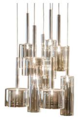 Casa Padrino Luxus 9er Pendelleuchte Silber / Taupe Ø 35 x H. 140 cm - Luxus Qualität