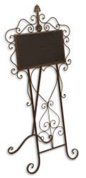 Casa Padrino Art Nouveau wrought iron blackboard brown 48.5 x 40 x H. 103.5 cm - Gastronomy Guest Board with fold-out Stand