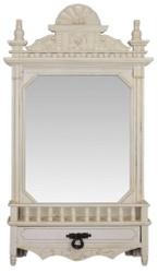Casa Padrino baroque wall mirror with drawer cream white 49.8 x H. 86.8 cm - Baroque Style Mirror