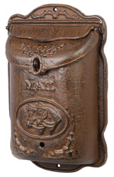 Casa Padrino Art Nouveau Cast Iron Wall Mailbox Antique Brown 25.2 x H 39.2 cm - Art Nouveau Decoration Accessories