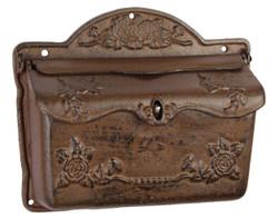 Casa Padrino Jugendstil Gusseisen Wandbriefkasten Antik Braun 32,2 x H. 26,3 cm - Jugendstil Deko