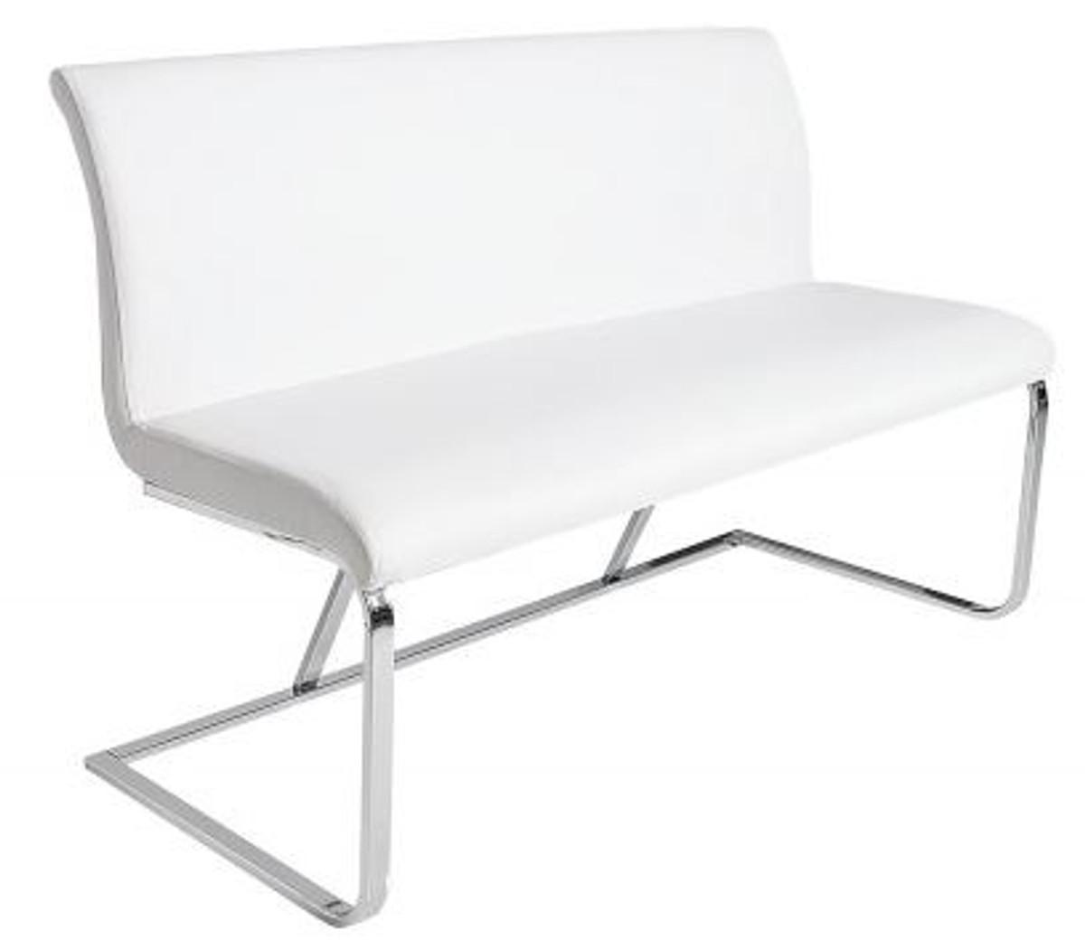 Casa Padrino Designer Sitzbank Weiss Silber Breite 130 Cm Höhe 85