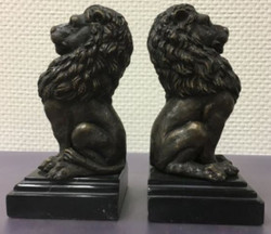 Casa Padrino luxury bookends set of 2 bronze lions 9 x 9 x H. 19 cm - Deco Bronze Figures with Marble Base