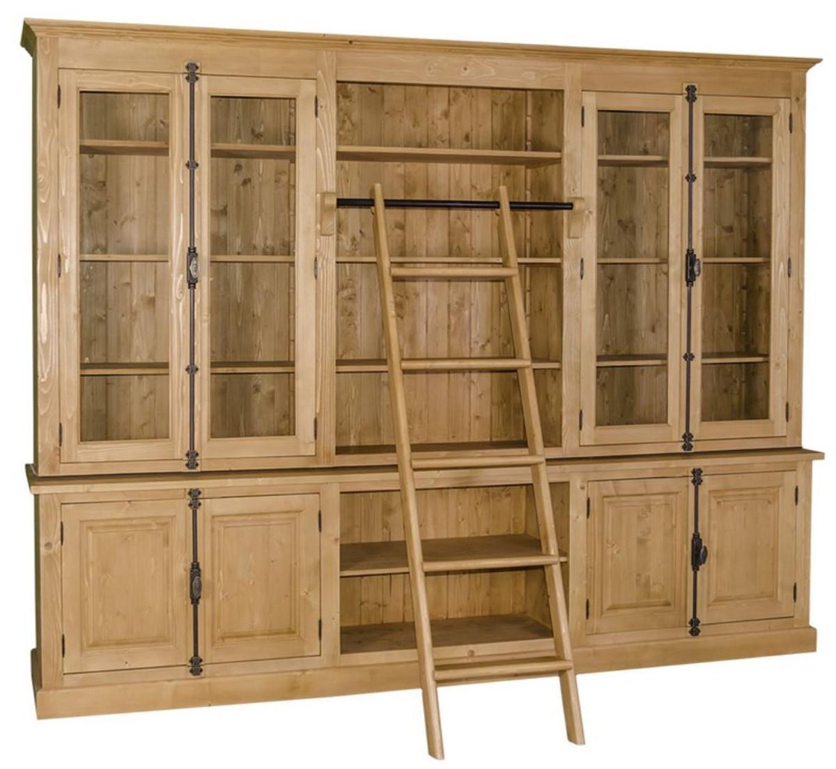 casa padrino landhausstil b cherschrank mit leiter naturfarben 300 x 50 x h 230 cm. Black Bedroom Furniture Sets. Home Design Ideas