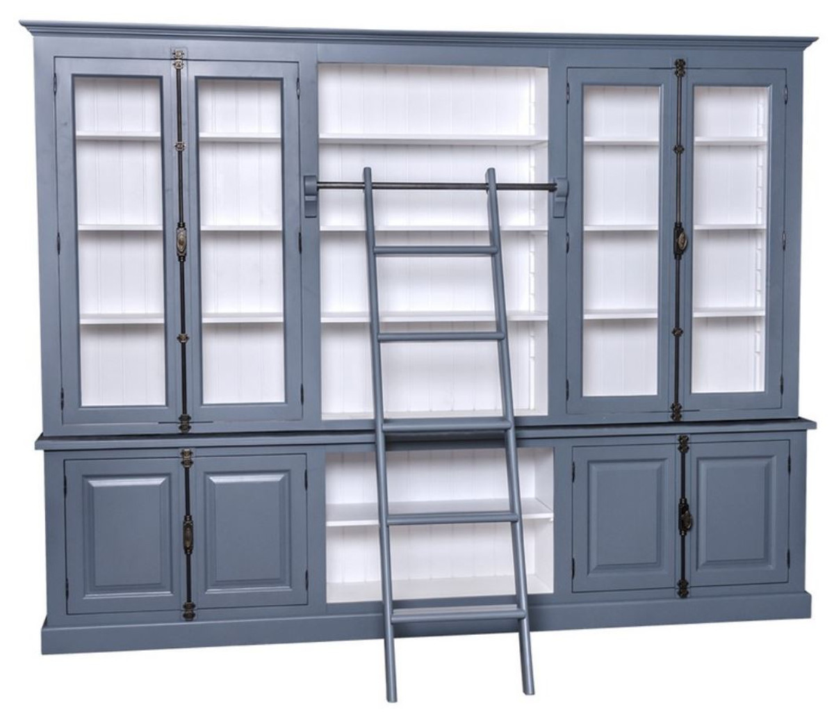 Casa Padrino Country Style Bookcase With Ladder Blue White 300 X 50 X H 230 Cm Country Style Furniture