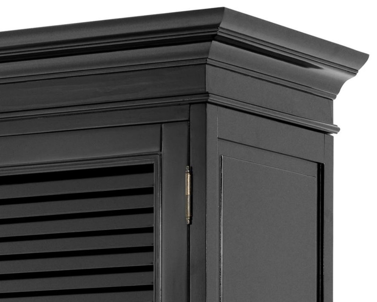Casa Padrino luxury bedroom cabinet with 2 doors and 2 drawers black 135 x  58 x H. 227 cm - Luxury Bedroom Furniture