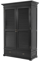 Casa Padrino luxury bedroom cabinet with 2 doors and 2 drawers black 135 x 58 x H. 227 cm - Luxury Bedroom Furniture