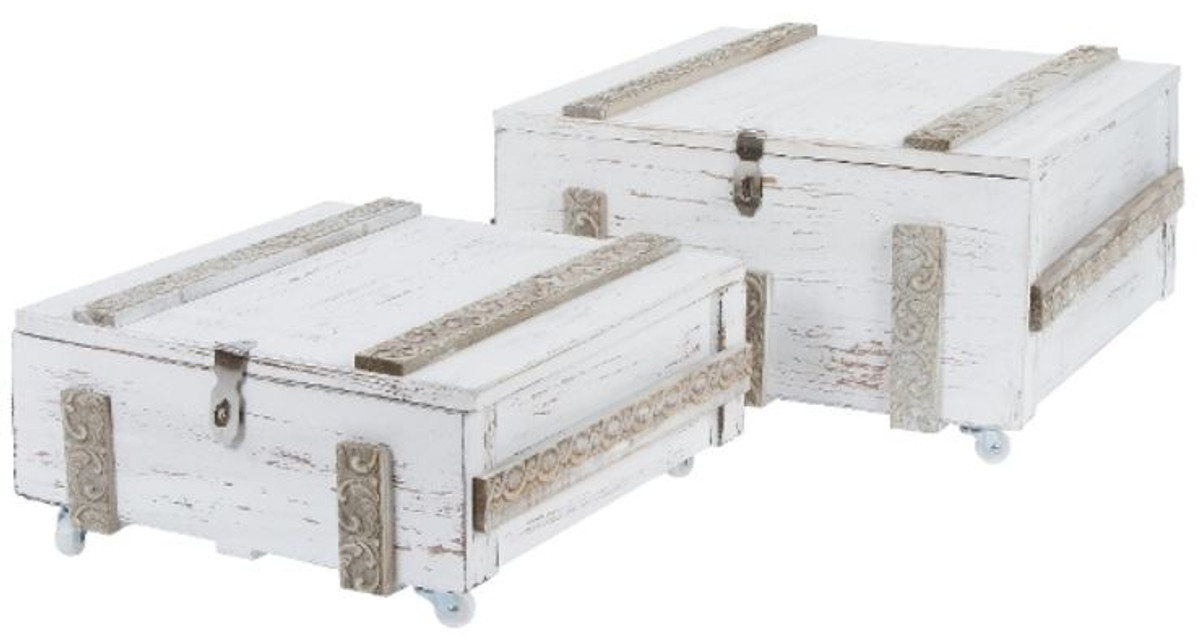 Casa Padrino Landhausstil Shabby Chic Holztruhen 2er Set Antik Weiß ...