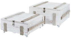 Casa Padrino country style wooden chests set of 2 antique white - Living Room Decoration