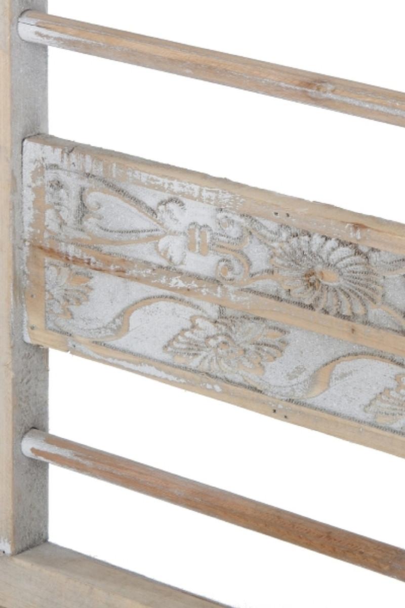 Casa Padrino Landhausstil Sitzbank mit Armlehnen Antik Weiß / Naturfarben  71 x 42 x H. 85 cm - Shabby Chic Deko Möbel