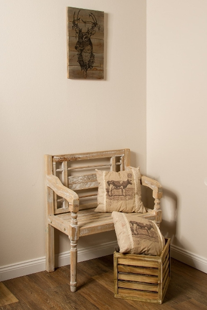 casa padrino landhausstil sitzbank mit armlehnen antik wei naturfarben 71 x 42 x h 85 cm. Black Bedroom Furniture Sets. Home Design Ideas