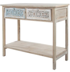 Casa Padrino Country Style Console Antique White / Natural 85 x 37 x H. 77 cm - Handcrafted Shabby Chic Console Table with 2 Drawers