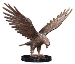 Casa Padrino luxury eagle bronze figure bronze / black 30 x 20 x H. 30 cm - Luxury Decorative Figure with Marble Base
