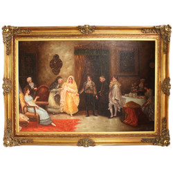 "Huge Handpainted Baroque Oil Painting ""The Nativity"" Gold Pride Frame 225 x 165 x 10 cm - Massive Material"