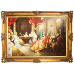 Huge Hand Painted Baroque Oil Painting Literary Evening Mod.2 Gold Pompous Frame 225 x 165 x 10 cm - Massive Material