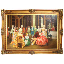 Huge baroque hand painted oil painting Entertainment night Golden pompous frame 225 x 165 x 10 cm - Massive material