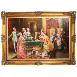 Giant Handpainted Baroque Oil Painting Board Games Gold Pride Frame 225 x 165 x 10 cm - Massive Material