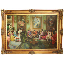 Huge Hand Painted Baroque Oil Painting Literary Evening Mod.3 Gold Pompous Frame 225 x 165 x 10 cm - Massive Material