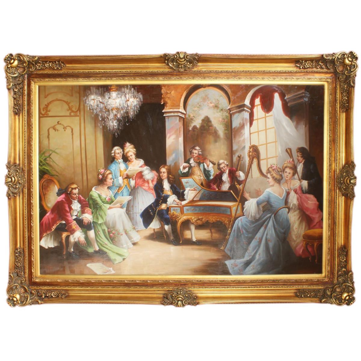 Riesiges Handgemaltes Barock Öl Gemälde Abend Mit Klassischer Musik Mod.2  Gold Prunk Rahmen 225