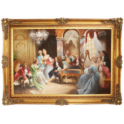 Huge Handpainted Baroque Oil Painting Evening with Classical Music Mod.2  Gold Pride Frame 225 x 165 x 10 cm - Massive Material