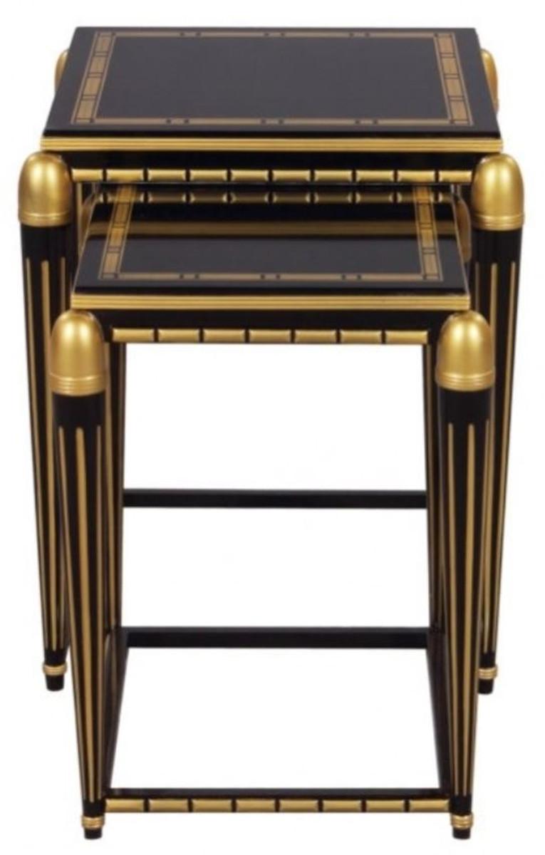 Casa Padrino Luxus Wohnzimmer Beistelltisch Set Schwarz / Gold 45 X 45 X H.  54 Cm   Luxus Möbel