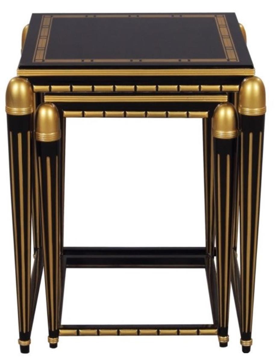 Casa Padrino Luxus Wohnzimmer Beistelltisch Set Schwarz / Gold 45 X 45 X H.  54