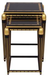Casa Padrino Luxury Living Room Side Table Set Black / Gold 45 x 45 x H. 54 cm - Luxury Furniture