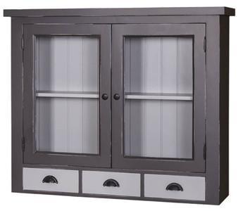 Casa Padrino pensile da cucina stile country grigio antico / grigio chiaro  192 x 31 x H. 65 cm - Mobile da Cucina in Stile Country con 2 Ante in Vetro  ...