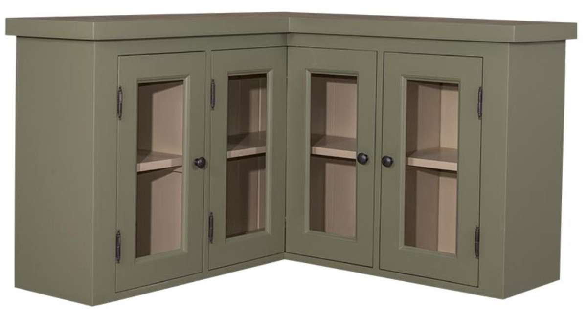 Casa Padrino Country Style Kitchen Corner Cupboard Green / Beige 98 X 98 X  H. 65 Cm   Country Style Wall Cabinet With 3 Glass Doors