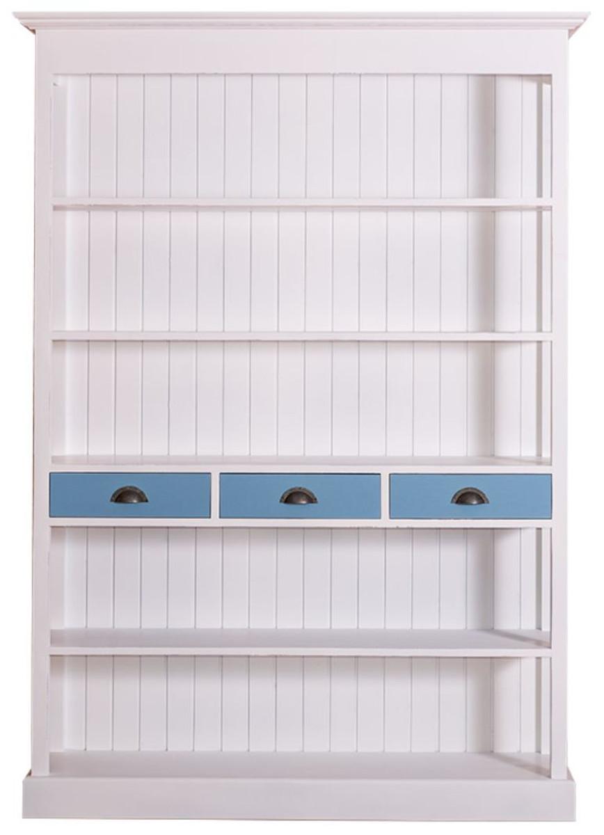 casa padrino landhausstil regalschrank wei blau 140 x. Black Bedroom Furniture Sets. Home Design Ideas
