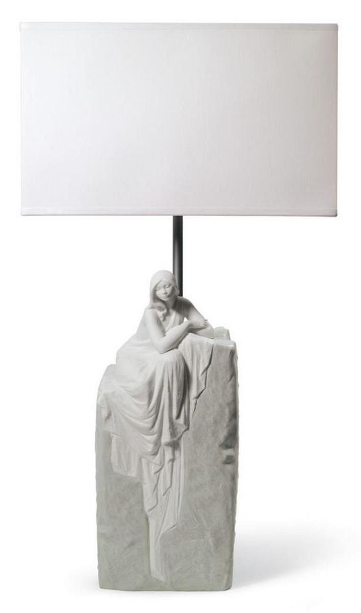 Casa Padrino Lampada Da Tavolo Di Lusso Grigio Bianco 30 X 20 X H 57 Cm Lampada Da Tavolo Di Design Con Scultura In Porcellana Artigianale Di Una Donna Meditating Mod1 Casa Padrino De