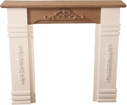 Casa Padrino country style fireplace surround antique white / brown 110 x 22 x H. 98 cm - Shabby Chic Furniture