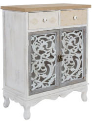 Casa Padrino country style chest of drawers with 2 doors and 2 drawers antique white / multicolored 68 x 35 x H. 89 cm - Shabby Chic Furniture