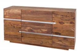 Casa Padrino Designer Sideboard Natur B.160 x H.80 x T.45 - Fernsehschrank - Kommode - Handgefertigt aus Massivholz!