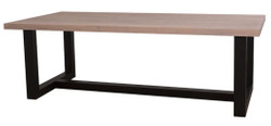 Casa Padrino country style dining table natural colors / black 240 x 120 x H. 78 cm - Solid Wood Dining Table